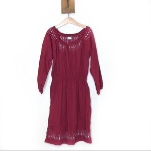 Tea Collection dark red peasant cinched dress